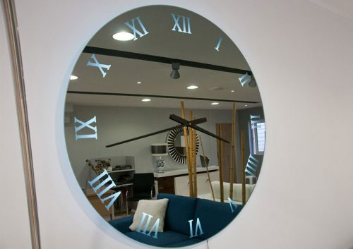 mirror with clock